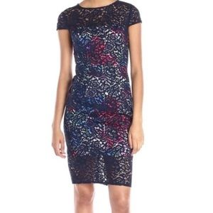 Betsey Johnson Colorful Lace Floral Sheath Dress.